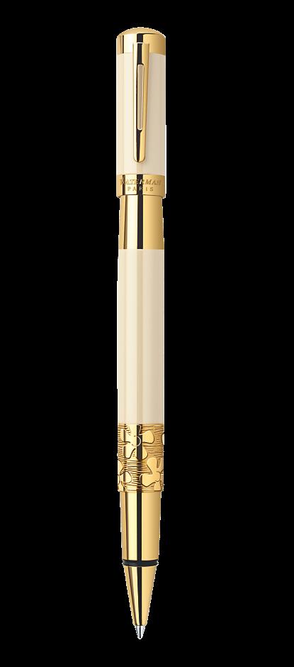 Bút dạ Waterman Elegance trắng cài vàng