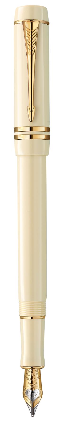 Bút máy Parker Duofold 14 Centennial Ivory cài vàng