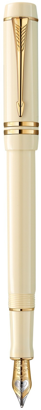 Bút máy Parker Duofold 14 International Ivory cài vàng