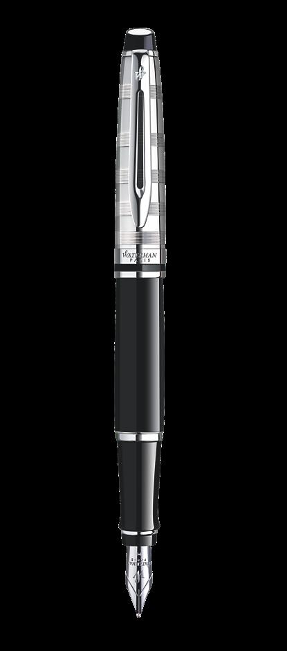 Bút máy waterman Expert 3 Dulux black cài trắng